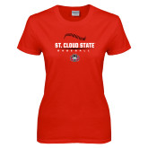 Ladies Red T Shirt-Baseball Seams Design
