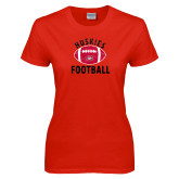 Ladies Red T Shirt-Distressed Football