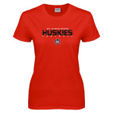 Ladies Red T Shirt-Football Yards Design