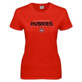Ladies Red T Shirt-Football Yards Design