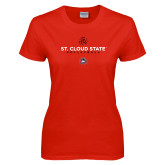 Ladies Red T Shirt-Volleyball Abstract Ball