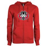 ENZA Ladies Red Fleece Full Zip Hoodie-Husky