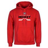 Red Fleece Hoodie-Hockey Crossed Sticks