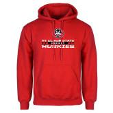 Red Fleece Hoodie-Hockey Stacked Design