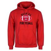 Red Fleece Hoodie-Distressed Football