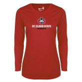 Ladies Syntrel Performance Red Longsleeve Shirt-Athletic Primary Mark