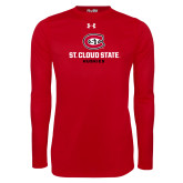 Under Armour Red Long Sleeve Tech Tee-St Cloud State Huskies Stacked w/ C