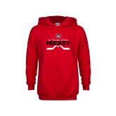 Youth Red Fleece Hoodie-Hockey Crossed Sticks