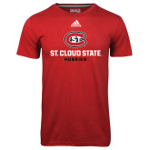 Adidas Climalite Red Ultimate Performance Tee-St Cloud State Huskies Stacked w/ C