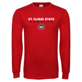 Red Long Sleeve T Shirt-St Cloud State Huskies