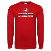 Red Long Sleeve T Shirt-Hockey Stacked Design