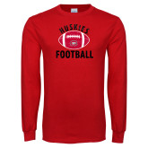 Red Long Sleeve T Shirt-Distressed Football