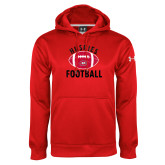 Under Armour Red Performance Sweats Team Hoodie-Distressed Football