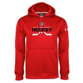Under Armour Red Performance Sweats Team Hoodie-Hockey Crossed Sticks