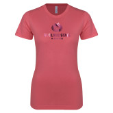 Next Level Ladies SoftStyle Junior Fitted Pink Tee-Athletic Primary Mark  Foil