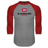 Grey/Red Raglan Baseball T Shirt-St Cloud State Huskies Stacked w/ C