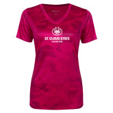 Ladies Pink Raspberry Camohex Performance Tee-Athletic Primary Mark
