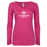 ENZA Ladies Hot Pink Long Sleeve V Neck Tee-Athletic Primary Mark