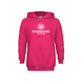 Youth Raspberry Fleece Hoodie-Athletic Primary Mark