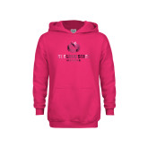 Youth Raspberry Fleece Hoodie-Athletic Primary Mark  Foil