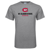 Grey T Shirt-St Cloud State Huskies Stacked w/ C