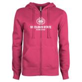ENZA Ladies Fuchsia Fleece Full Zip Hoodie-Athletic Primary Mark
