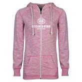 ENZA Ladies Hot Pink Marled Full Zip Hoodie-Athletic Primary Mark