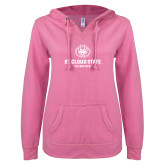 ENZA Ladies Hot Pink V Notch Raw Edge Fleece Hoodie-Athletic Primary Mark