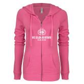 ENZA Ladies Hot Pink Light Weight Fleece Full Zip Hoodie-Athletic Primary Mark