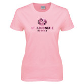 Ladies Pink T Shirt-Athletic Primary Mark  Foil