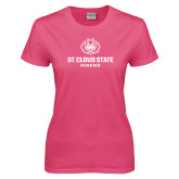 Ladies Fuchsia T Shirt-Athletic Primary Mark