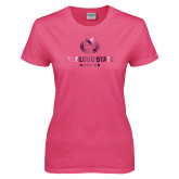 Ladies Fuchsia T Shirt-Athletic Primary Mark  Foil