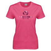 Ladies Fuchsia T Shirt-Athletic Primary Mark  Foil