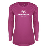 Ladies Syntrel Performance Raspberry Longsleeve Shirt-Athletic Primary Mark