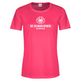 Ladies Performance Hot Pink Tee-Athletic Primary Mark