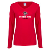 Ladies Red Long Sleeve V Neck Tee-Athletic Primary Mark