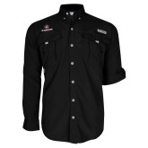 Columbia Bahama II Black Long Sleeve Shirt-Athletic Primary Mark