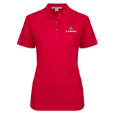 Ladies Easycare Red Pique Polo-Athletic Primary Mark