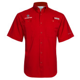 Columbia Tamiami Performance Red Short Sleeve Shirt-Athletic Primary Mark
