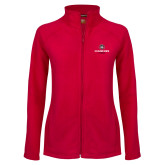 Ladies Fleece Full Zip Red Jacket-Athletic Primary Mark