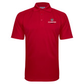 Red Textured Saddle Shoulder Polo-Athletic Primary Mark