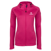 Ladies Tech Fleece Full Zip Hot Pink Hooded Jacket-Athletic Primary Mark