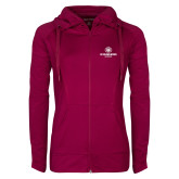 Ladies Sport Wick Stretch Full Zip Deep Berry Jacket-Athletic Primary Mark