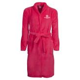 Ladies Pink Raspberry Plush Microfleece Shawl Collar Robe-Athletic Primary Mark