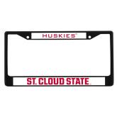 Metal License Plate Frame in Black-Huskies