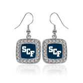 Crystal Studded Square Pendant Silver Dangle Earrings-SCF