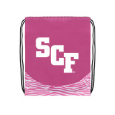 Nylon Zebra Pink/White Patterned Drawstring Backpack-SCF