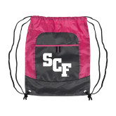 Nylon Pink Raspberry/Deep Smoke Pocket Drawstring Backpack-SCF