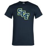 Navy T Shirt-SCF Distressed