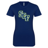 Next Level Ladies SoftStyle Junior Fitted Navy Tee-SCF